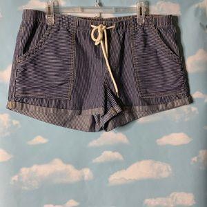 Roxy- Blue with White Stripe Drawstring Shorts XL